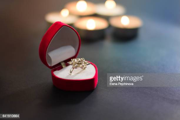 a gift? - engagement ring box stock photos and pictures