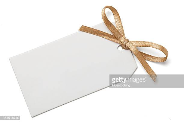 gift tag with bow - ribbon stock pictures, royalty-free photos & images