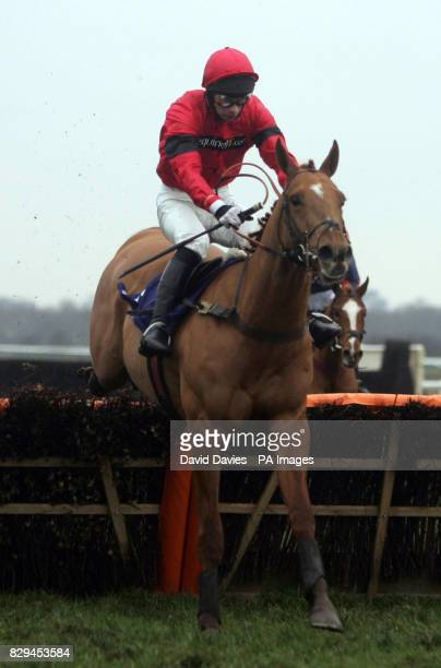 Gift Voucher ridden by Tom Doyle jumps the last to go on and win the Warwickshire Juvenile Novices' hurdle