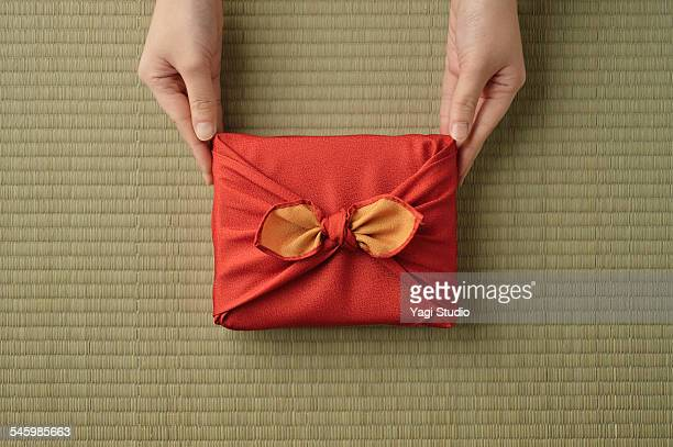 Gift wrapped in Japanese Wrapping cloth (furoshiki