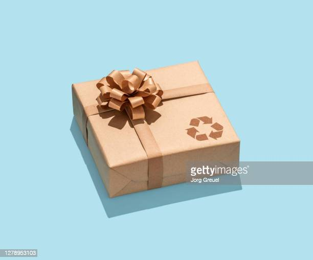 Gift wrapped in recycled paper