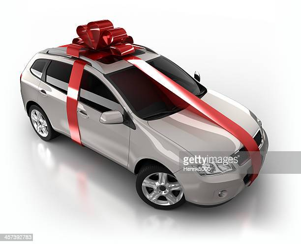 gift wrapped SUV Car in studio - isolated on white