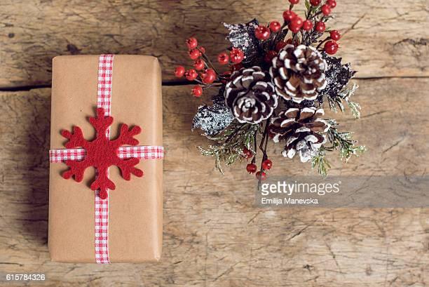gifts and christmas decoration on table - macedonia country stock pictures, royalty-free photos & images