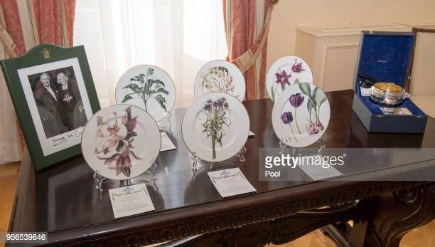 Gifts exchanged between Prince Charles Prince of Wales and President of Greece Prokopios Pavlopoulos are displayed at the Presidential Mansion on May...