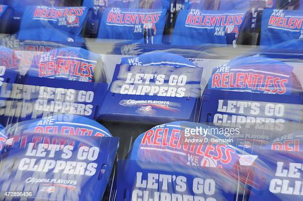 Gifts for the fans of the Los Angeles Clippers sit on chairs before a game against the Houston Rockets in Game Four of the Western Conference...
