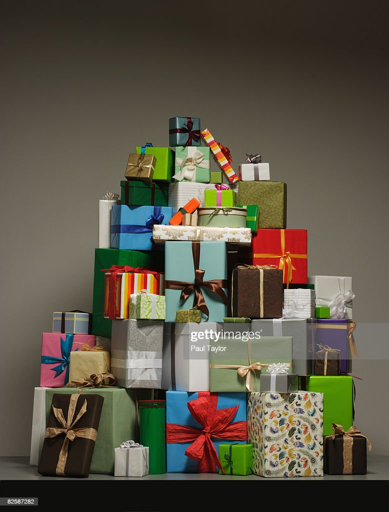 Gifts in pile : Stock Photo