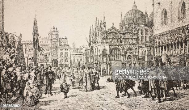 Gifts offered by the Arts to the Dogaressa Caterina Grimani on the day of her coronation St Mark's square Venice Italy engraving from a painting by...