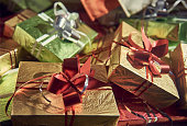 gifts background wooden table background packaging