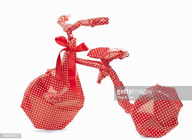 Gift-wrapped bicycle