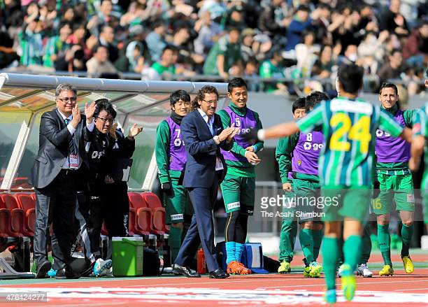 Gifu head coach Ramos Ruuy celebrates his team's first goal during the J League second division match between FC Gifu and Kamatamare Sanuki at...