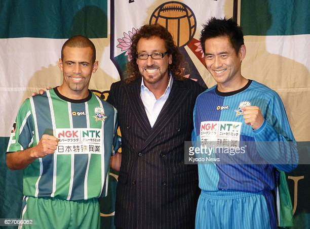 Gifu Japan Brazilianborn former Japan midfielder Alessandro Santos newly hired manager Ruy Ramos and former Japan national team goalkeeper Yoshikatsu...
