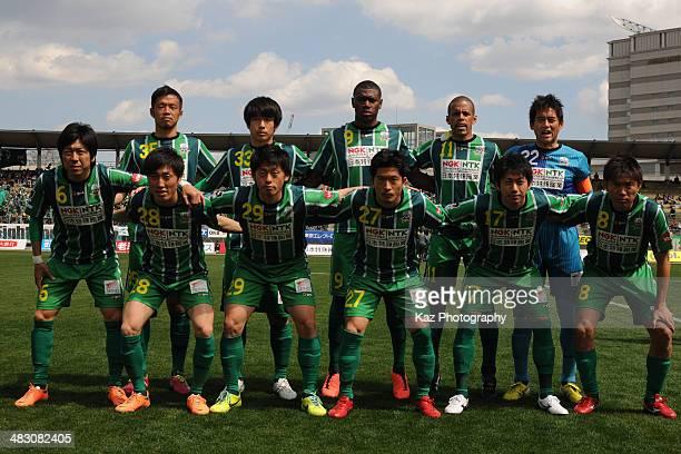 FC Gifu players line up for the team photos prior to the JLeague second division match between FC Gifu and Avispa Fukuoka at Nagaragawa Stadium on...