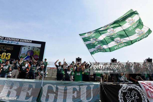 Gifu supporters cheer prior to the JLeague J2 match between Thespa Kusatsu Gunma and FC Gifu at Shoda Shoyu Stadium on May 3 2017 in Maebashi Gunma...