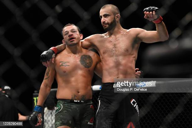 Giga Chikadze of Georgia celebrates after defeating Irwin Rivera of the United States in their Featherweight bout during UFC Fight Night at VyStar...