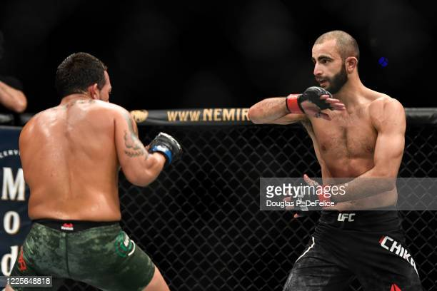 Giga Chikadze of Georgia fights Irwin Rivera of the United States in their Featherweight bout during UFC Fight Night at VyStar Veterans Memorial...