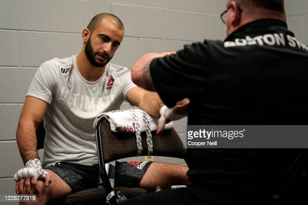 Giga Chikadze of Georgia has his hands wrapped prior to fighting during the UFC Fight Night event at VyStar Veterans Memorial Arena on May 16 2020 in...