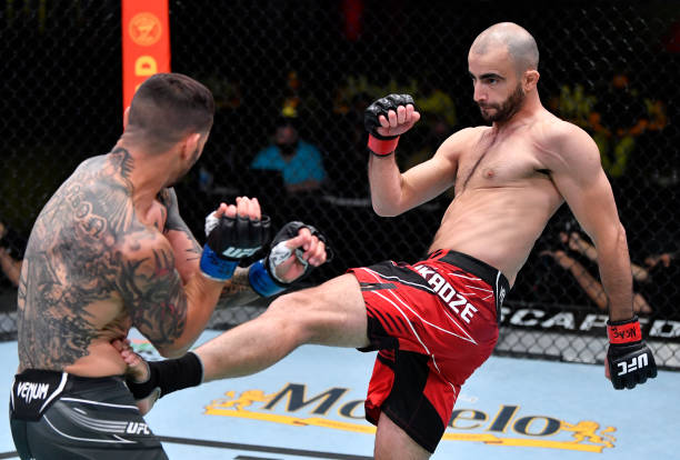 Giga Chikadze of Georgia kicks Cub Swanson in a featherweight bout during the UFC Fight Night event at UFC APEX on May 01, 2021 in Las Vegas, Nevada.
