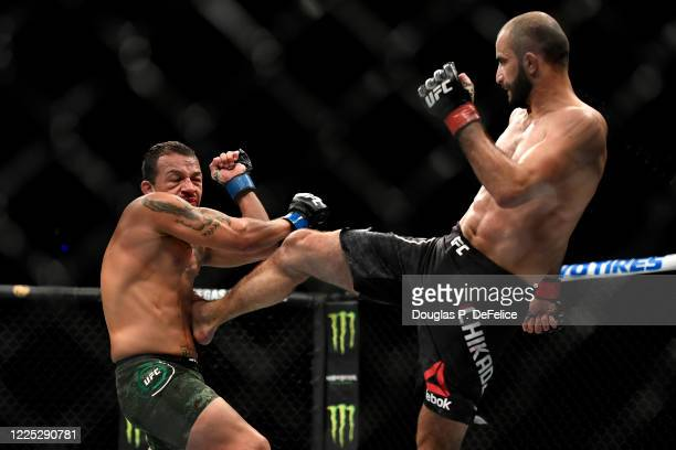 Giga Chikadze of Georgia kicks Irwin Rivera of the United States in their Featherweight bout during UFC Fight Night at VyStar Veterans Memorial Arena...