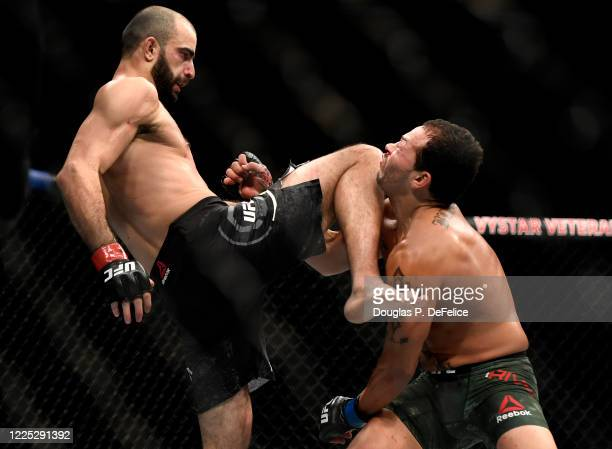 Giga Chikadze of Georgia knees Irwin Rivera of the United States in their Featherweight bout during UFC Fight Night at VyStar Veterans Memorial Arena...