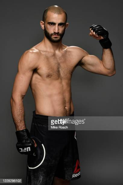 Giga Chikadze of Georgia poses for a portrait backstage after his victory during the UFC fight night event at VyStar Veterans Memorial Arena on May...
