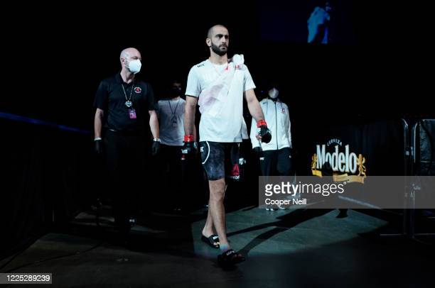 Giga Chikadze of Georgia prepares to fight Irwin Rivera of Mexico in their featherweight fight during the UFC Fight Night event at VyStar Veterans...