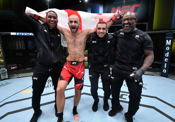 Giga Chikadze of Georgia reacts after his TKO victory over Cub Swanson in a featherweight bout during the UFC Fight Night event at UFC APEX on May...