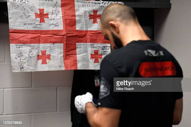 Giga Chikadze of Georgia warms up prior to his fight during the UFC fight night event at VyStar Veterans Memorial Arena on May 16 2020 in...
