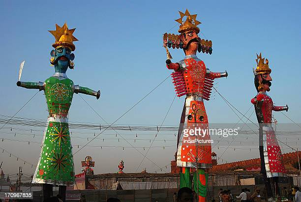 Gigantic effigies of the tenheaded Ravana and his brothers put up on Dussehra festival This is a very popular Hindu festival which marks the defeat...