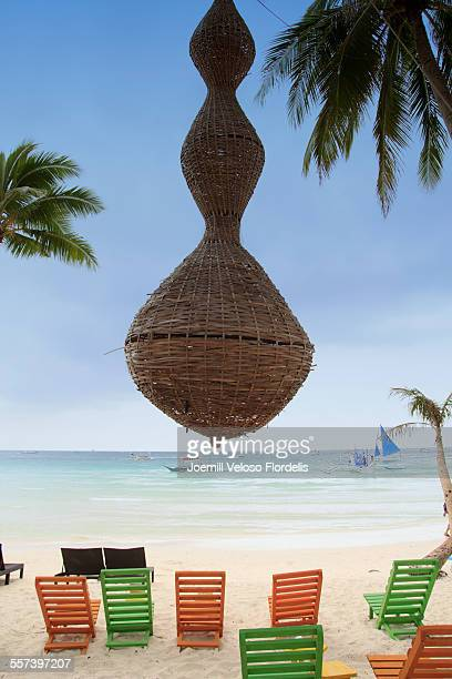 gigantic hanging decor at white beach, boracay - joemill flordelis stock pictures, royalty-free photos & images