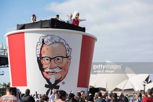 A gigantic Kentucky Fried Chicken bucket to celebrate it's 50th birthday in Australia measuring six metres tall and seven metres wide on April 27...