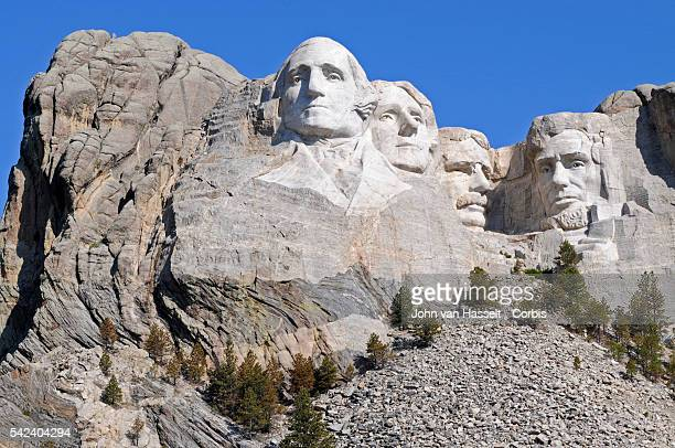 Gigantic sculptures of US Presidents George Washington Thomas Jefferson Theodore Roosevelt and Abraham Lincoln created by artist Gutzon Borglum and...