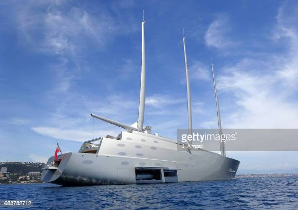 Gigantic vessel owned by Russian billionaire Andrey Melnichenko is spotted during the 70th annual Cannes Film Festival at on May 26 2017 in Cannes...