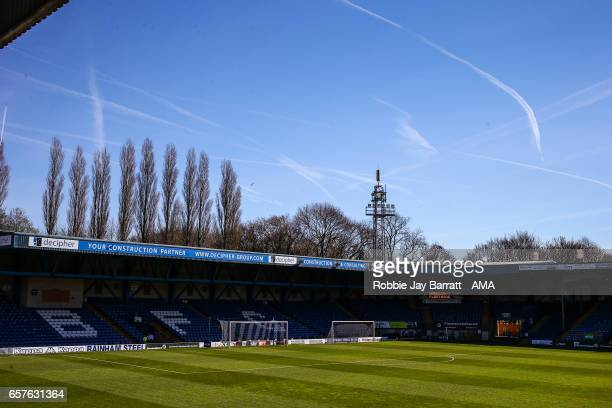 Gigg Lane home stadium of Bury prior to the Sky Bet League One match between Bury and Fleetwood Town at Gigg Lane on March 25 2017 in Bury England