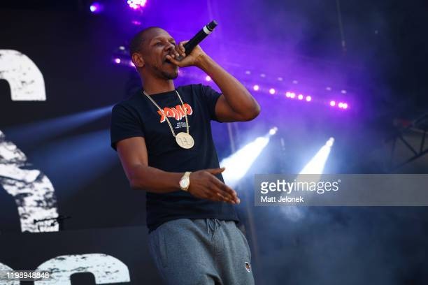 Giggs performs on stage at FOMO Festival 2020 on January 12, 2020 in Melbourne, Australia.