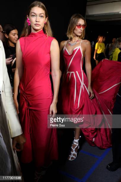 Gigi and Bella Hadid are seen backstage ahead of the Off-White Womenswear Spring/Summer 2020 show as part of Paris Fashion Week on September 26, 2019...