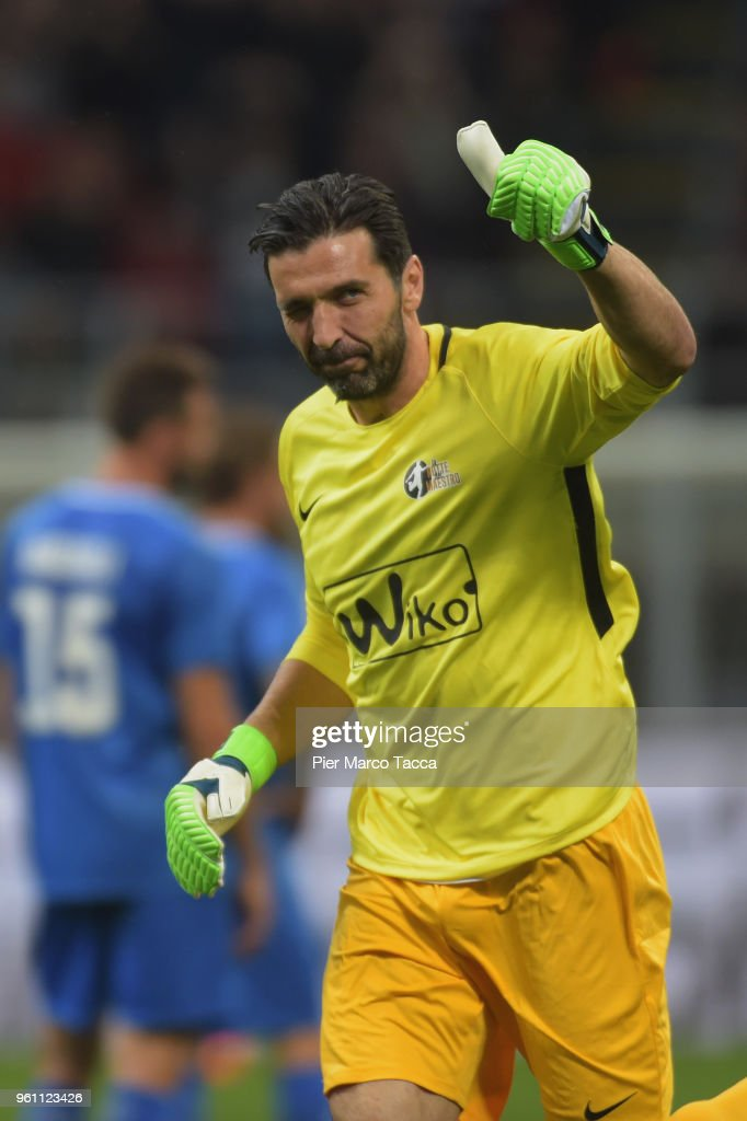 Gigi Buffon gestures during Andrea Pirlo Farewell Match at Stadio Giuseppe Meazza on May 21, 2018 in Milan, Italy.
