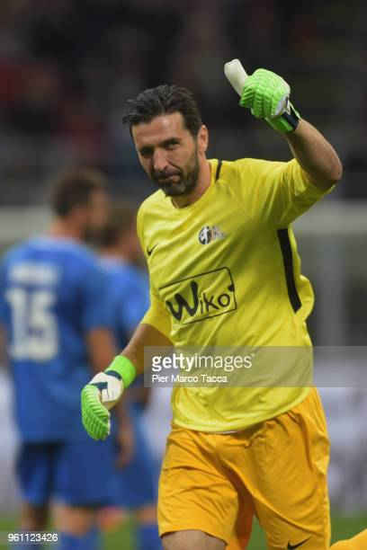 Gigi Buffon gestures during Andrea Pirlo Farewell Match at Stadio Giuseppe Meazza on May 21 2018 in Milan Italy