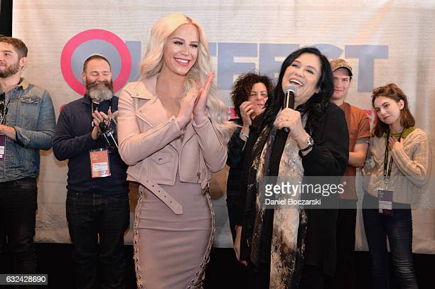 Gigi Curtis and Barbara Kopple speak on stage at the 21st Outfest Queer Bruch At Sundance Presented By DIRECTV NOW at Grub Steak on January 22 2017...