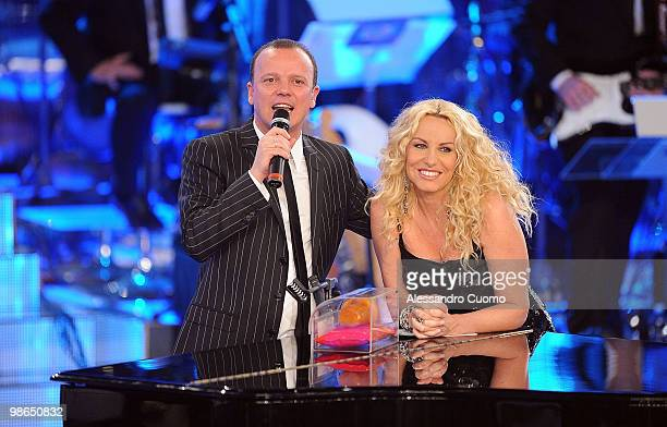 Gigi D'alessio and Antonella Clerici attend 'Ti lascio Una Canzone' at the Auditorium of Naples on April 24 2010 in Naples Italy