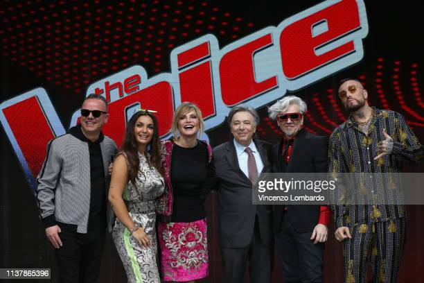 Gigi D'Alessio Elettra Lamborghini Simona Ventura Carlo Freccero Morgan and Gué Pequeno attend a photocall to launch The Voice of Italy 2019 on April...