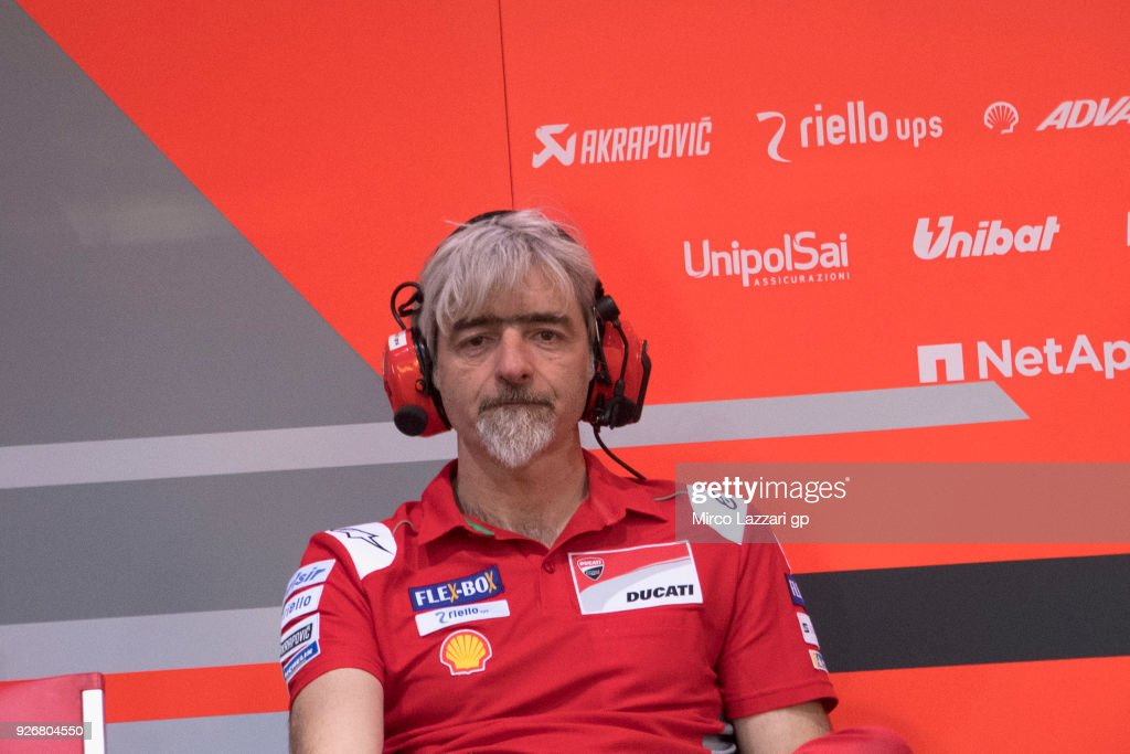 Gigi Dalligna Of Italy And Ducati Corse General Manager Looks On In