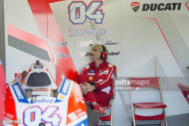 Gigi Dall'Igna of Italy and Ducati Team looks on in box during 2017 MotoGP preseason testing at Phillip Island Grand Prix Circuit on February 16 2017...
