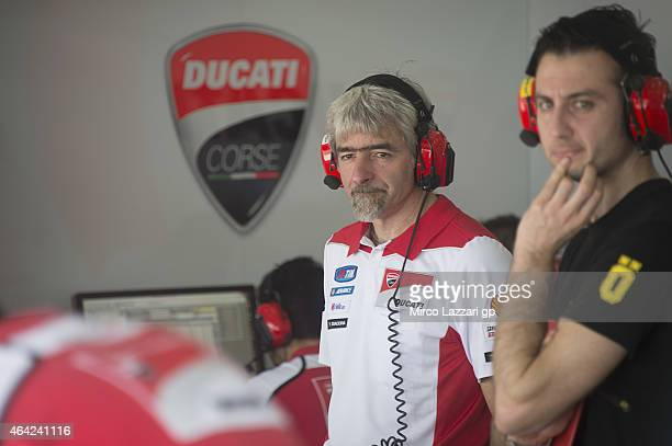 Gigi Dall'Igna of Italy and Ducati Team looks on in box during the MotoGP Tests in Sepang Day One at Sepang Circuit on February 23 2015 in Kuala...