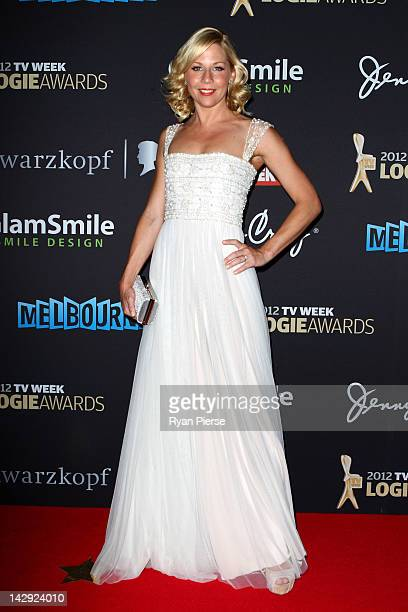 Gigi Edgley arrives at the 2012 Logie Awards at the Crown Palladium on April 15 2012 in Melbourne Australia