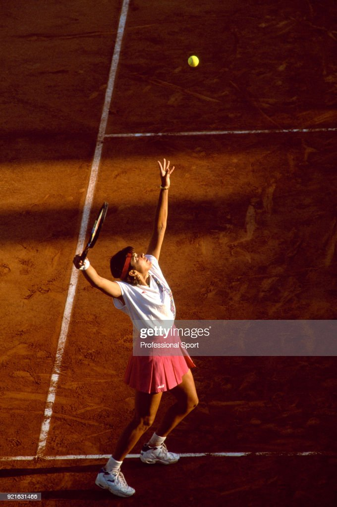 Gigi Fernandez of the USA in action against Clare Wood of Great Britain (not in picture) in their Women's First Round match during the French Open Tennis Championships at the Stade Roland Garros circa May 1994 in Paris, France.