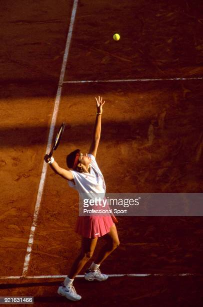 Gigi Fernandez of the USA in action against Clare Wood of Great Britain in their Women's First Round match during the French Open Tennis...
