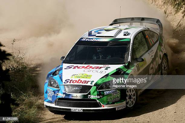 Gigi Galli and Giovanni Bernacchini of Italy and Stobart VK MSport Ford Rally Team drive their Ford Focus RS WRC '07 A/8 during the shakedown of the...