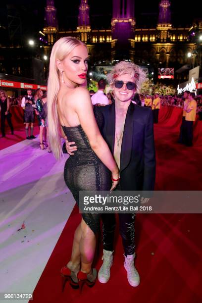 Gigi Gorgeous and Nats Getty arrive for the Life Ball 2018 at City Hall on June 2 2018 in Vienna Austria The Life Ball an annual charity event...