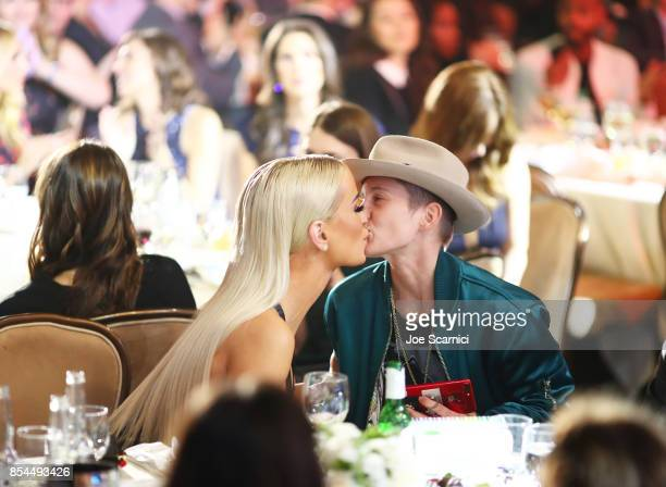 Gigi Gorgeous and Nats Getty at the 2017 Streamy Awards at The Beverly Hilton Hotel on September 26 2017 in Beverly Hills California