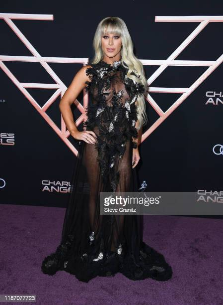 """Gigi Gorgeous arrives at the Premiere Of Columbia Pictures' """"Charlies Angels"""" at Westwood Regency Theater on November 11, 2019 in Los Angeles,..."""